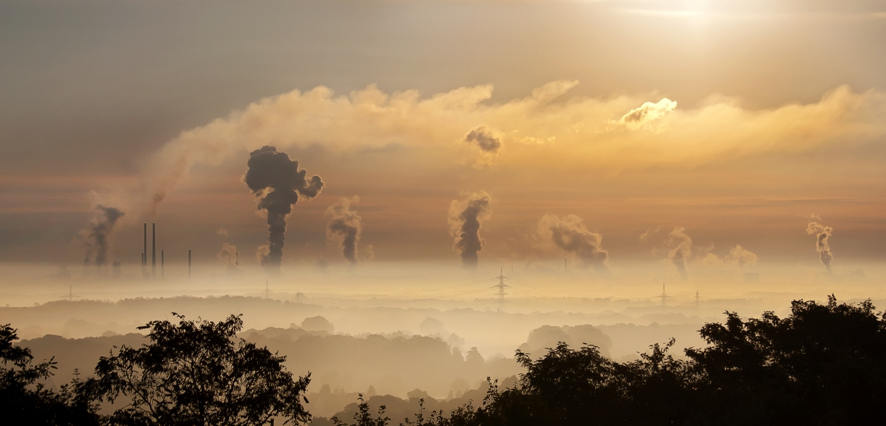 Air pollution over natural landscape