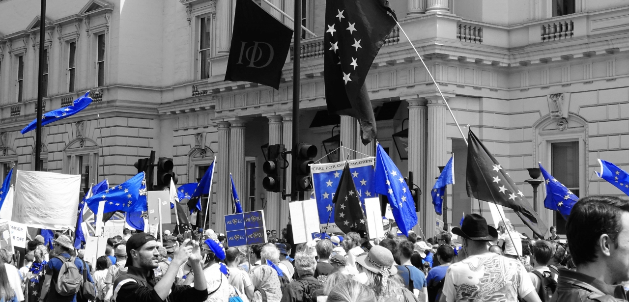 European flags at a march against Brexit