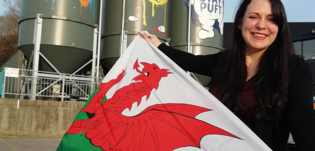 Amelia Womack outside the Tiny Rebel Brewery in Newport