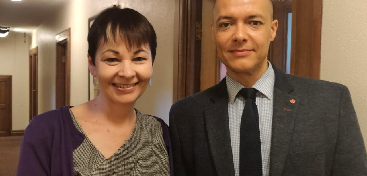 Caroline Lucas and Clive Lewis with the bill