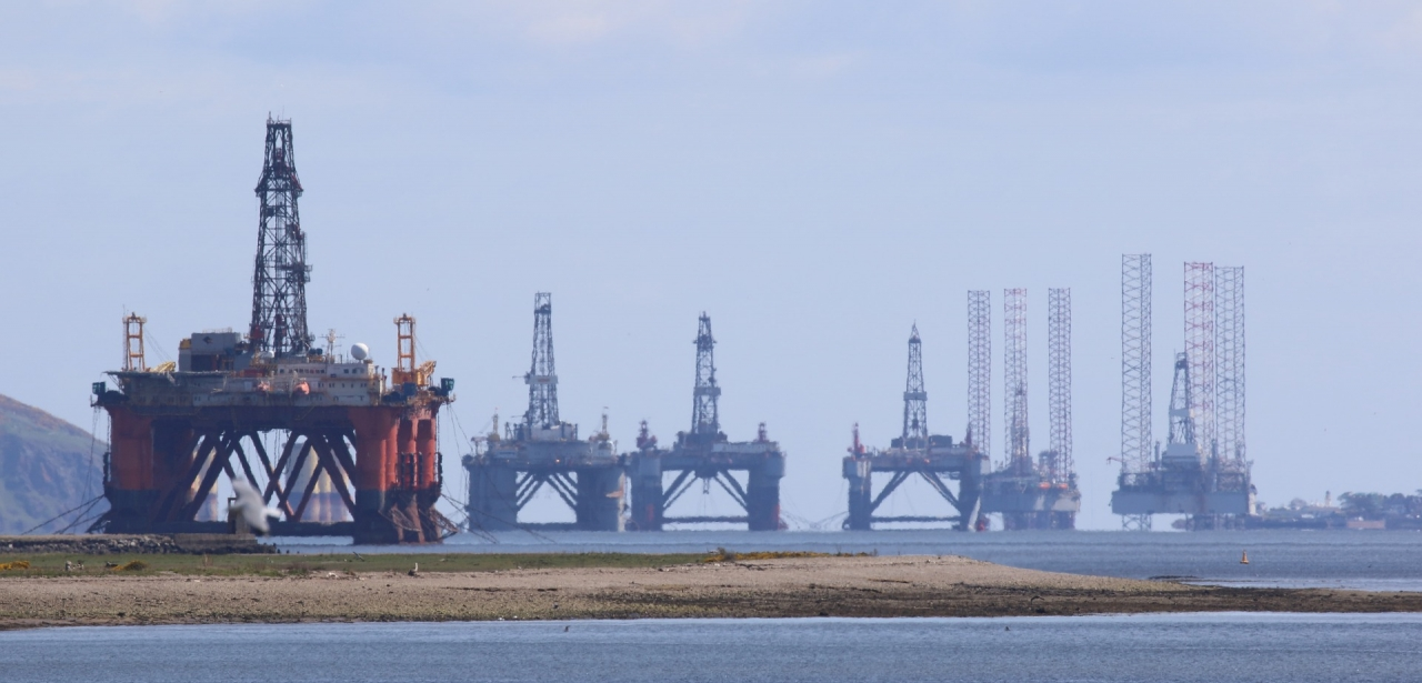 Oil rigs off the coast of Scotland