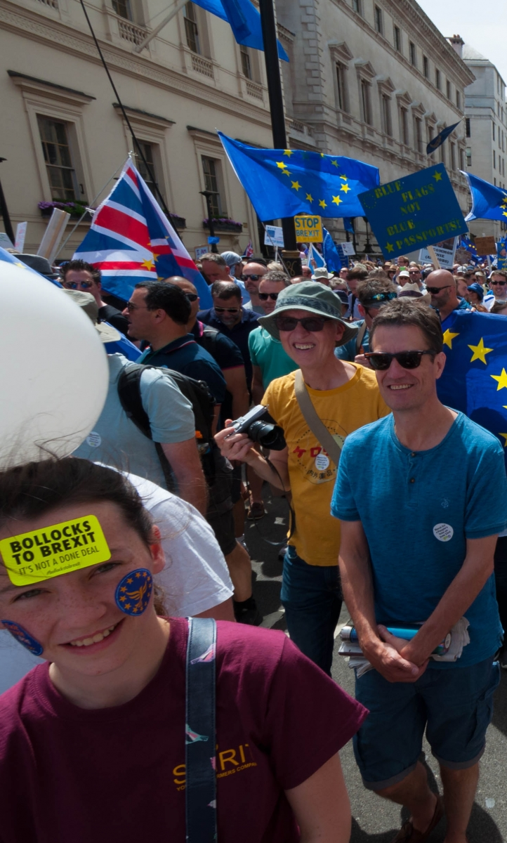 People in the crowd at a People's Vote march