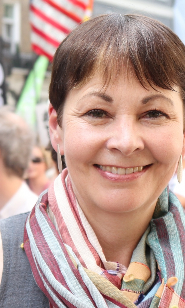 Caroline Lucas protests