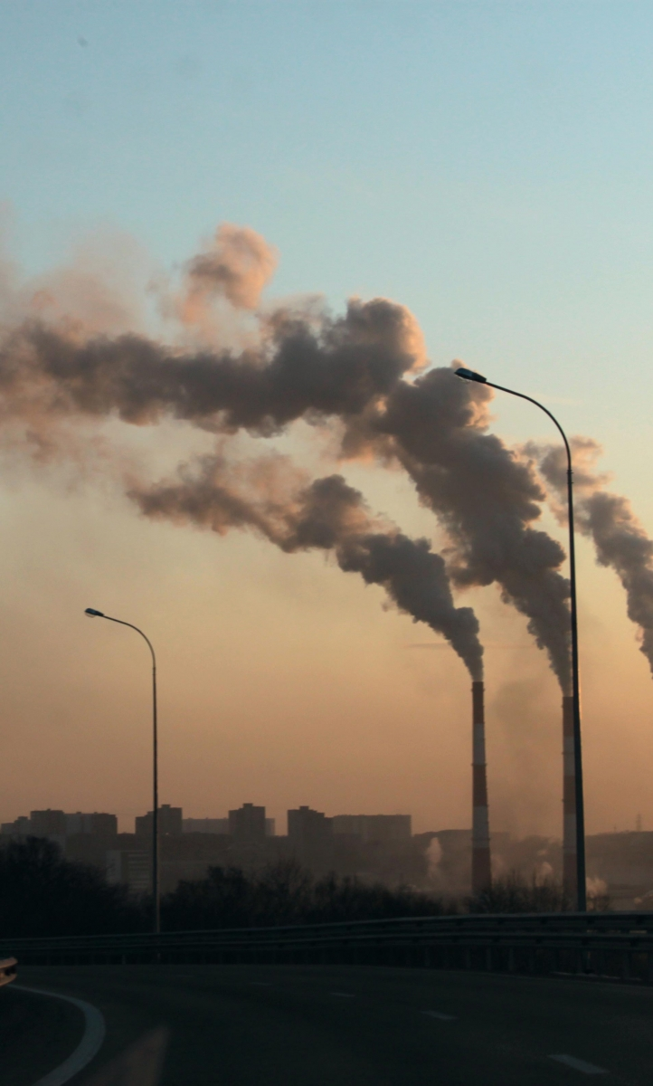 Smoke emissions from factory chimneys