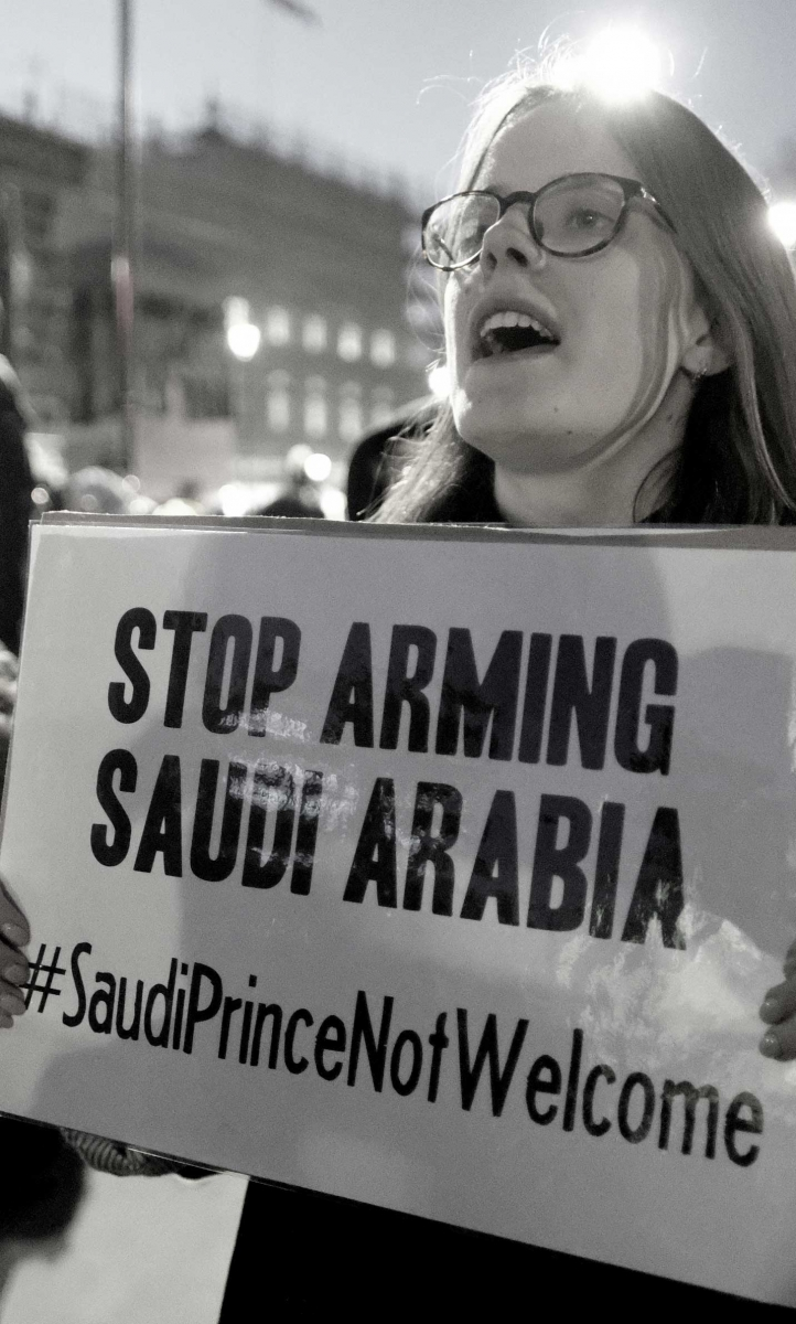 Protestors at a London demonstration against the UK-Saudi arms trade