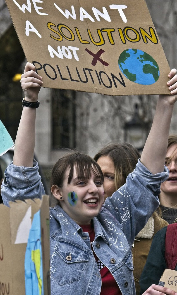 Youth climate strikers demand action to address the climate emergency.
