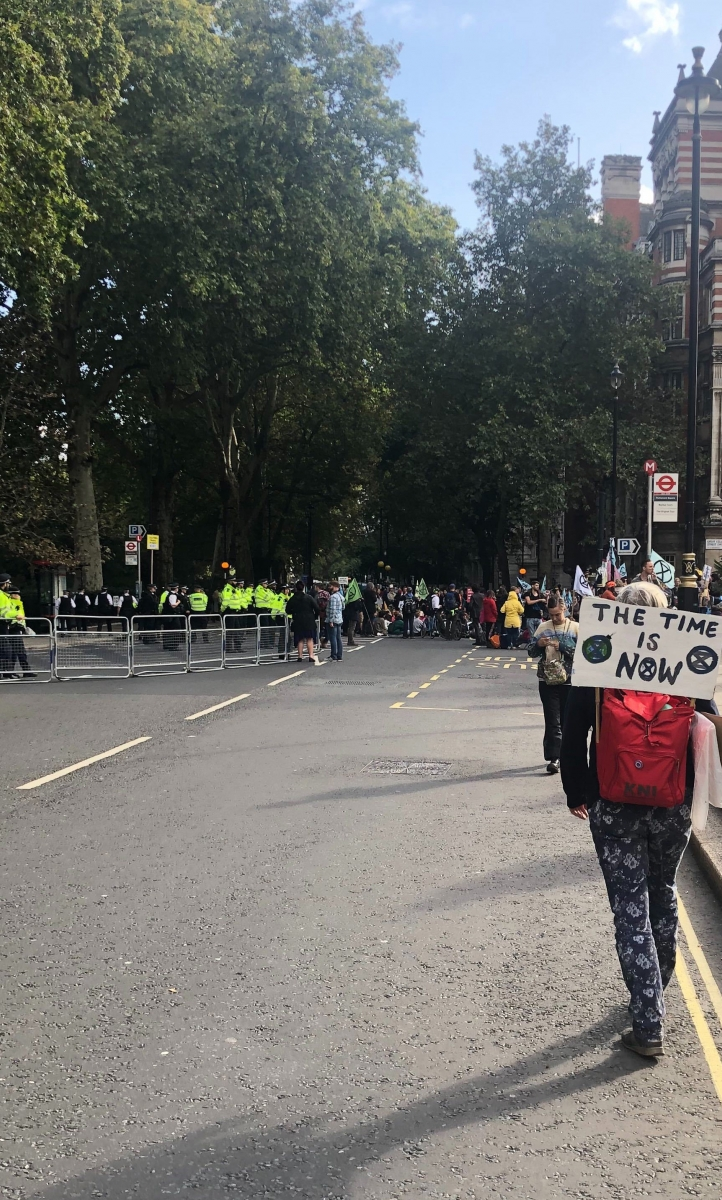 Activists and police at Extinction Rebellion's Autumn protests in London