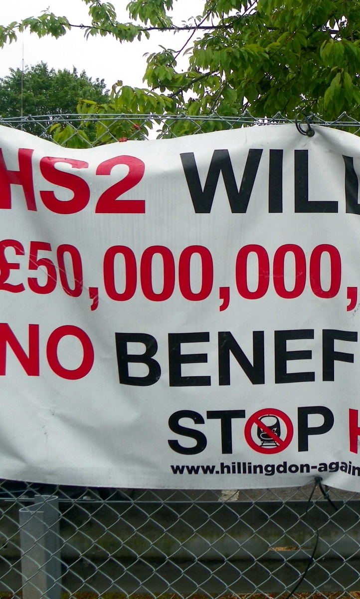 A HS2 protest banner
