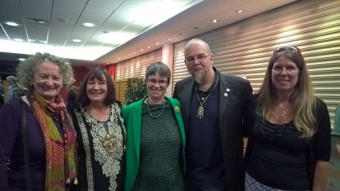 Image of Denise as Mayor Glastonbury with Jenny Jones, Molly Scott Cato, Cllrs Jon Cousins and Emma George (2nd and third Green Mayors of Glastonbury respectively)