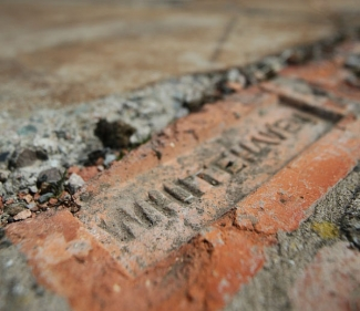 A brick reading 'Whitehaven' at the old Marchon Chemicals site in West Cumbria