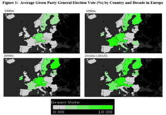 Map depicting Green party success across Europe since the 1980s.