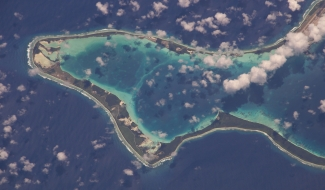 An image of Diego Garcia atoll in the Chagos Archipelago from above