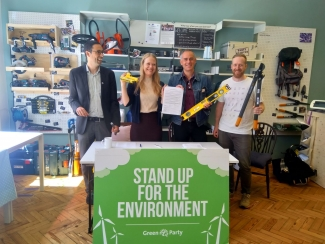 The Green Party co-leaders at the Crystal Palace Library of Things