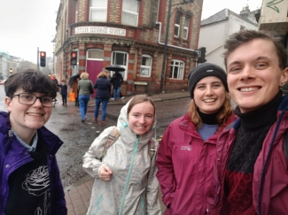 Canvassers in rainy Bristol