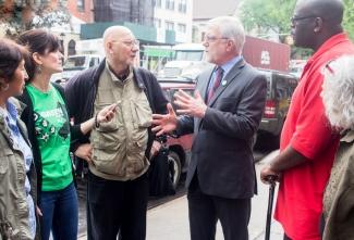 Howie Hawkins meeting voters