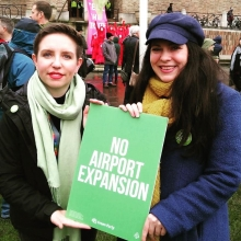 Carla Denyer and Amelia Womack at the anti-airport expansion march.