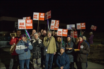 Tree campaigners in Sheffield at night
