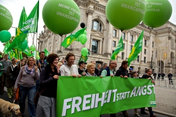 German Green Party members marching through the streets.