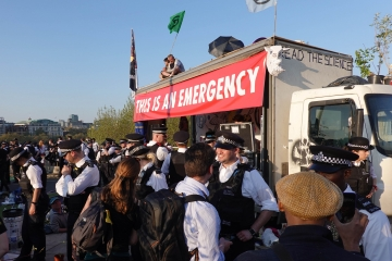 Extinction Rebellion activists and police on Waterloo Bridge