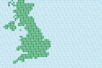 A map of the UK in green and blue pixels