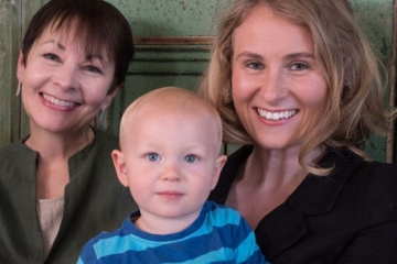 Alexandra Phillips with son Raphael and Caroline Lucas MP