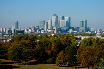 The view from Greenwich Park into London