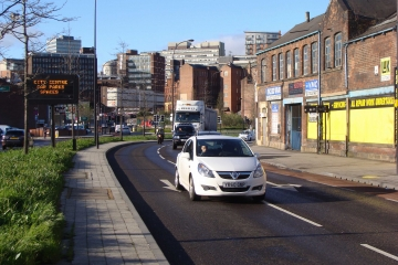 Sheffield city centre road with vehicles