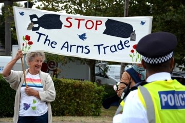 Protesters campaigning against the DSEI arms fair