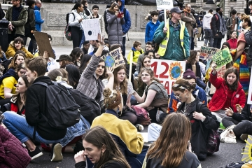 Students and children strike to demand action on the climate emergency.