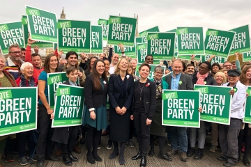 An image of Green Party members at the campaign launch