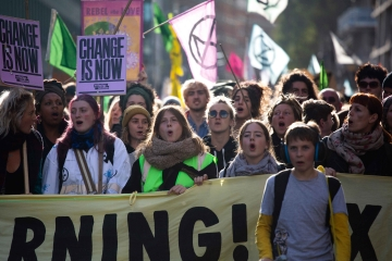 An image of Extinction Rebellion protestors in London