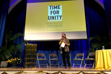 A speaker at the Time for Unity conference in Brighton