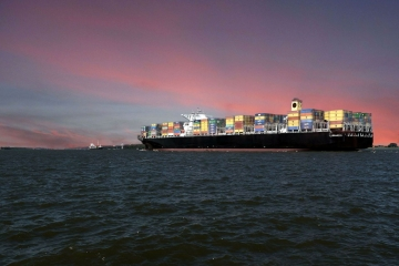 An image of a container ship