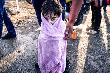 Young Syrian girl at the Greek border.