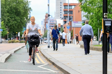 An image of active travel in Greater Manchester