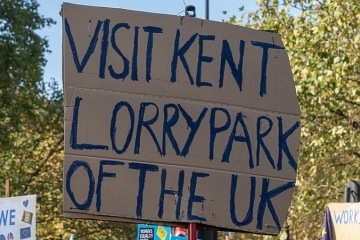 Protestor's sign saying - 'Visit Kent Lorry Park of the UK'