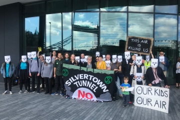 Campaigners outside City Hall protesting the Silvertown Tunnel