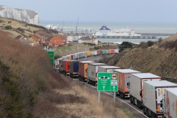 A lorry queue outside Dover