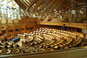 Debating chamber in Scottish Parliament building